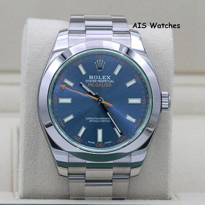 FSOT - Rolex Milgauss Z-BLUE 116400 GV Green Crystal Blue Dial Box & Papers