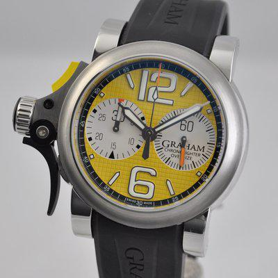 FS: Graham Chronofighter Trigger R.A.C. RAC Yellow Steel 2TRAS.Y001A.K43B Rubber