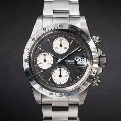 FS:1994 Tudor Oysterdate Automatic Chrono-Time 79180 Black Dial with Box and Pap