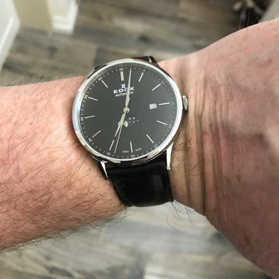 BACK UP FOR SALE!, NOW JUST $325.00! Edox 80500-3-NIN Les Vauberts Moonphase Automatic, newer, thinner model, black dial, leather strap, LNIB