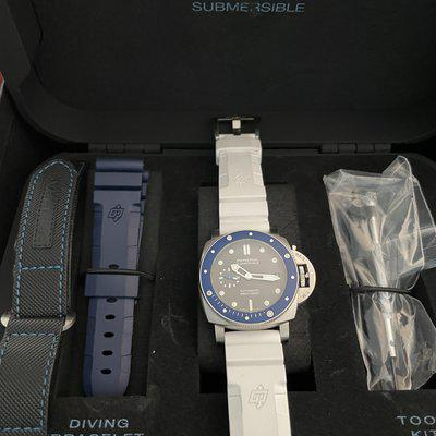 """FS: Panerai Submersible Blue Ceramic with Grey """"SHARK"""" Dial!"""