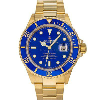 Rolex 16618 Submariner Z Blue Dial 18K Yellow Gold Serviced