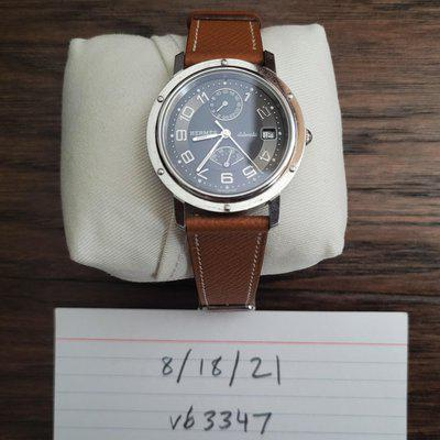 [WTS] HERMES Clipper GMT Power Reserve Automatic CL2.810 Gray Dial 38mm Leather Strap