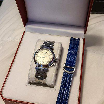 "FS: Cartier ""Pasha de Cartier"" 1031 Ladies Automatic 35mm on Stainless Bracelet w/ spare Alligator/Deployant"