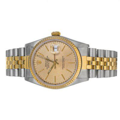 FS- Rolex 16233 Datejust R Champagne Tapestry Dial Steel 18K Yellow Gold Box