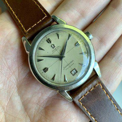 SOLD - 1951/2 Omega Seamaster Calendar - Waffle Dial w/ Crosshairs - Date at 6 o'clock