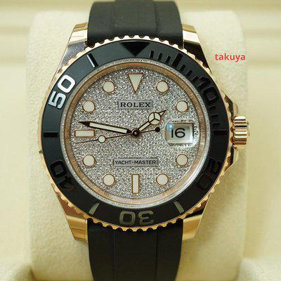 FSOT:MINT Rolex 116655 YACHTMASTER 18K ROSE GOLD PAVE DIAMOND DIAL 40MM 2021 FULL SET