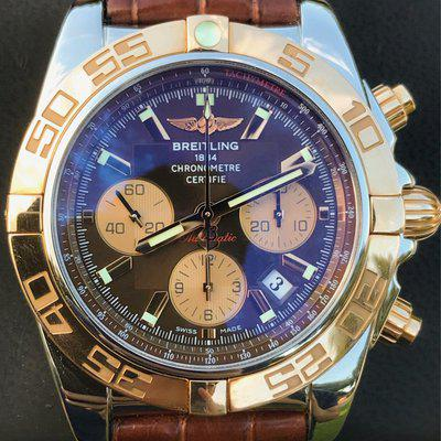 FS. Breitling Chronomat 44 B01 Two tone Rose Gold Chocolate dial CB11012/Q576 W/ Boxes and paper