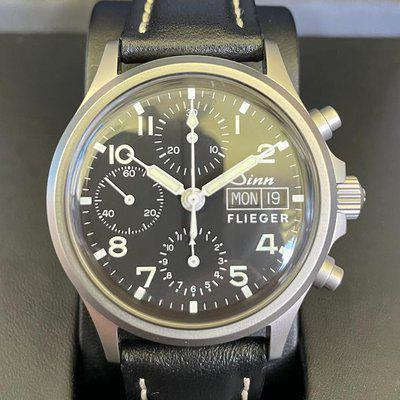 FS: SINN 356 Flieger with Acrylic Crystal on Leather Strap **Virtually BRAND NEW**Free Shipping**