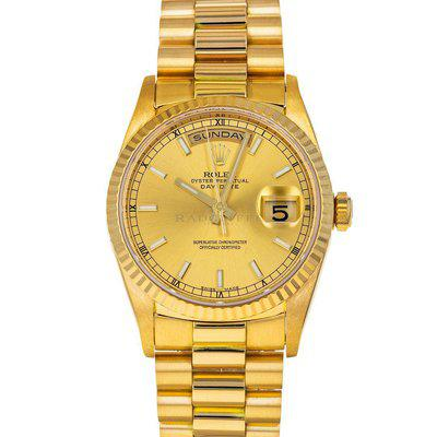 FS- Rolex 18238 Day-Date T Champagne Stick 18k Gold RSC Papers Box