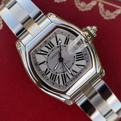FS: Cartier Roadster GMT Silver Dial Stainless Steel W62032X6