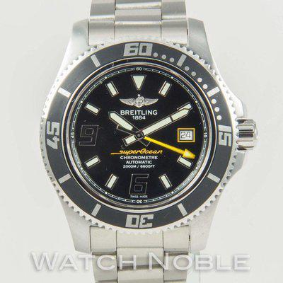 FS:Pre-owned Breitling Superocean 44 Black Dial yellow accents 44mm A17391