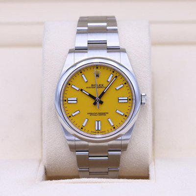 FSOT: Rolex Oyster Perpetual 124300 Yellow Dial 41mm – 2021 Box & Papers