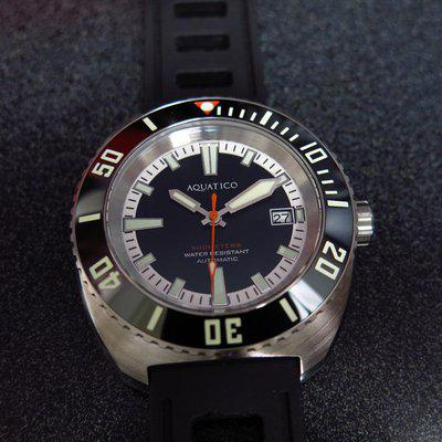 TRADED - Aquatico Oyster black dial watch - new full kit