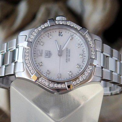 FS: Ladies TAG Heuer Aquaracer MOP Diamonds WAF1313.BA0819 New w/ Box & Book REDUCED