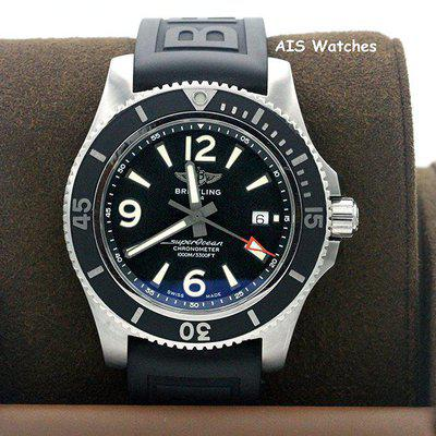 FSOT - Breitling Superocean 44MM SS Black Rubber A17367 D71B1S2 Box & Papers