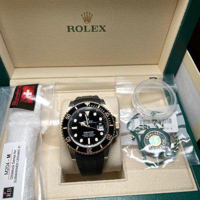 FS Preowned 126613LN Rolex Submariner TT 18k gold 2021 with Rubber Strap and extra cl