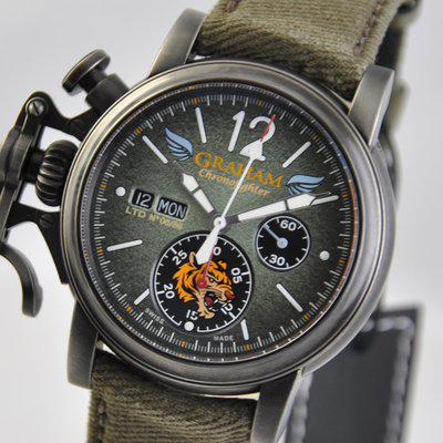 FS: Graham Chronofighter Flying Tigers Limited Green D-Day BlackSteel 44mm 2CVAV.G03A Textile