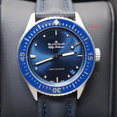 FSOT:Blancpain FIFTY FATHOMS BATHYSCAPHE 38MM BLUE DIAL STAINLESS STEEL 2020 FULL SET