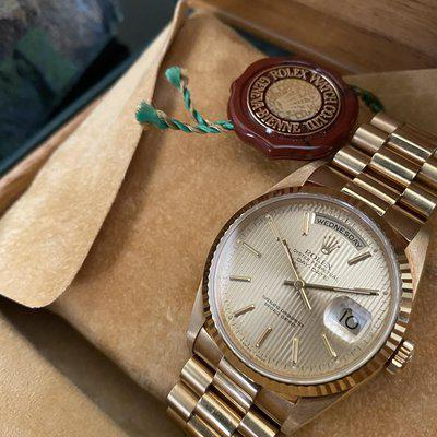 FS: Rolex Day-Date, Ref. 18238, Complete from 1991 with Tapestry Dial