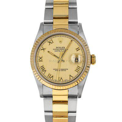 FS- Rolex 16233 Datejust Fluted Champagne Roman Box Papers Oyster No Holes
