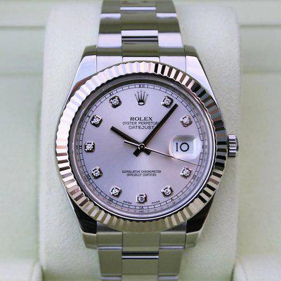 FS: ROLEX 116334 DATEJUST II 41MM SILVER DIAMOND DIAL