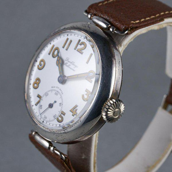 FS: 1920's Dunklings Trench Watch with White Porcelain Dial 7