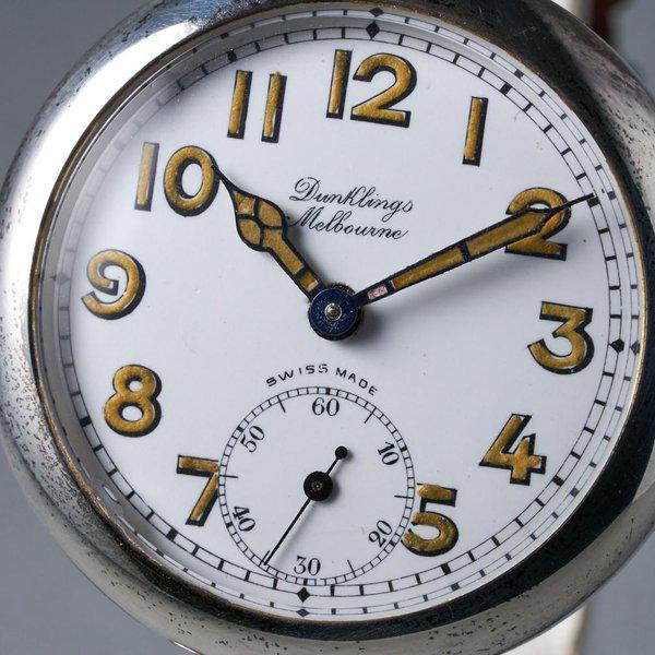 FS: 1920's Dunklings Trench Watch with White Porcelain Dial 5