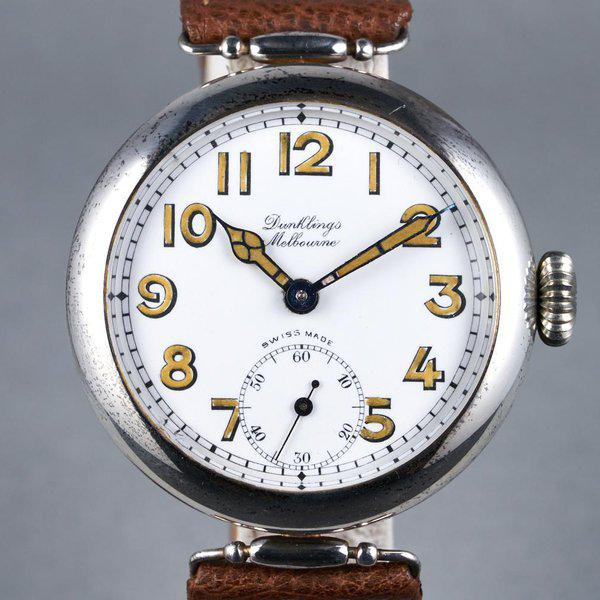 FS: 1920's Dunklings Trench Watch with White Porcelain Dial 1