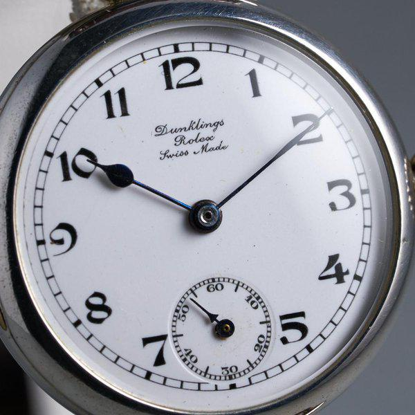 """FS: 1910's Rolex Silver Trench Watch with """"Dunklings"""" Double Name Porcelain Dial 4"""