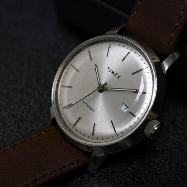 SOLD - Timex Marlin Silver Sunburst dial Automatic 4