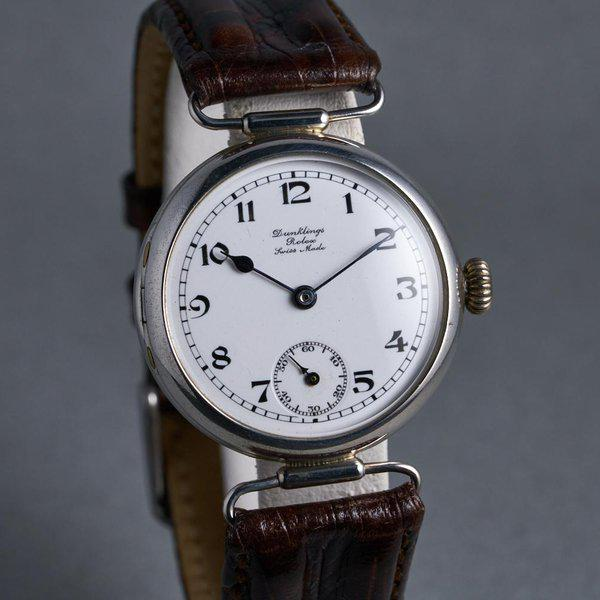 """FS: 1910's Rolex Silver Trench Watch with """"Dunklings"""" Double Name Porcelain Dial 2"""