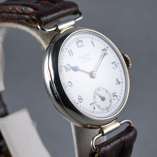 """FS: 1910's Rolex Silver Trench Watch with """"Dunklings"""" Double Name Porcelain Dial 6"""