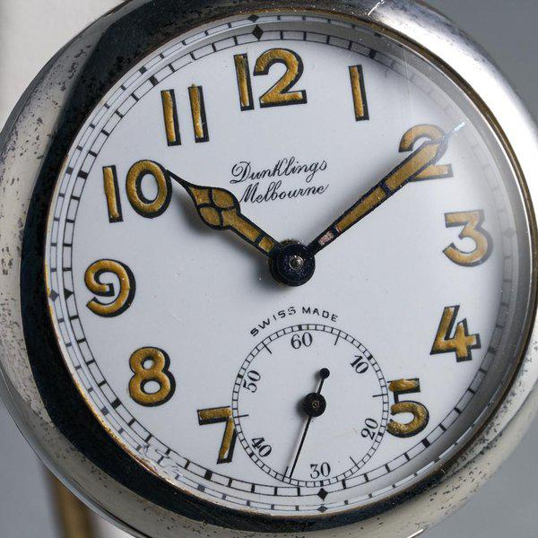 FS: 1920's Dunklings Trench Watch with White Porcelain Dial 4