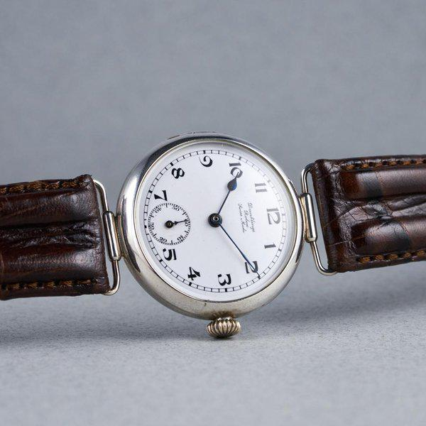 """FS: 1910's Rolex Silver Trench Watch with """"Dunklings"""" Double Name Porcelain Dial 10"""