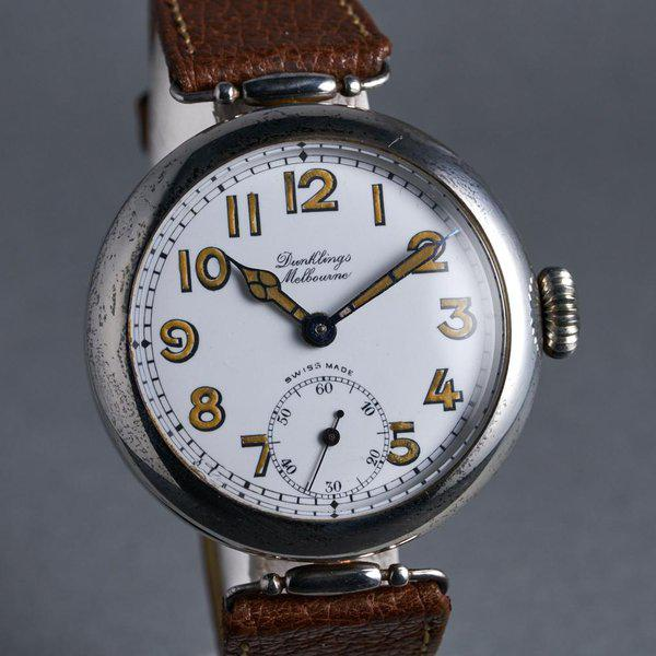 FS: 1920's Dunklings Trench Watch with White Porcelain Dial 2