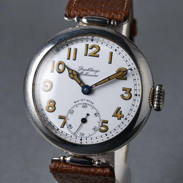 FS: 1920's Dunklings Trench Watch with White Porcelain Dial 3