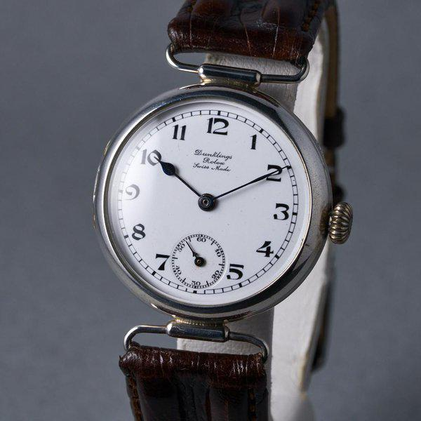 """FS: 1910's Rolex Silver Trench Watch with """"Dunklings"""" Double Name Porcelain Dial 3"""