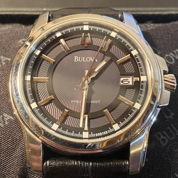 [WTS] Bulova Precisionist Stainless Steel (Model: 96B158) with Grey Dial, Black Leather Strap, Original box 2