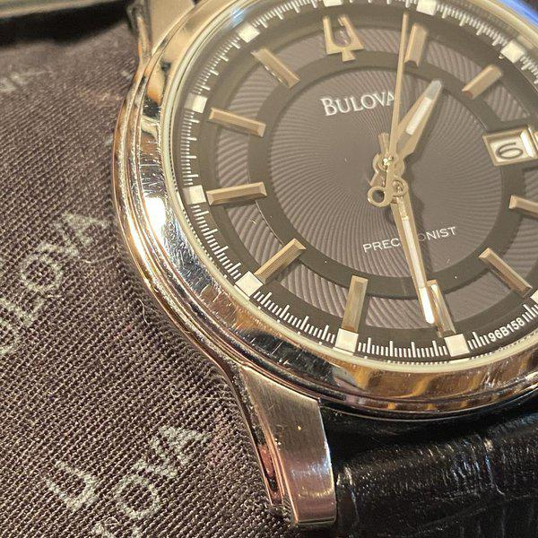 [WTS] Bulova Precisionist Stainless Steel (Model: 96B158) with Grey Dial, Black Leather Strap, Original box 3