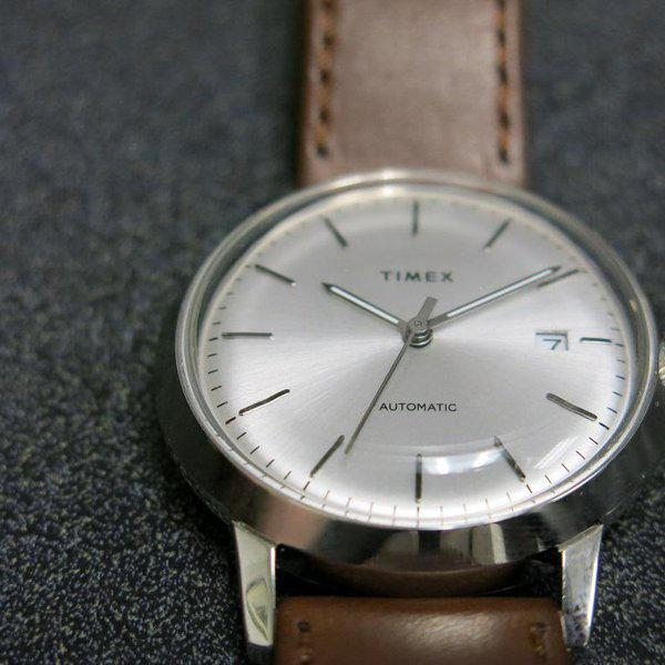 SOLD - Timex Marlin Silver Sunburst dial Automatic 6