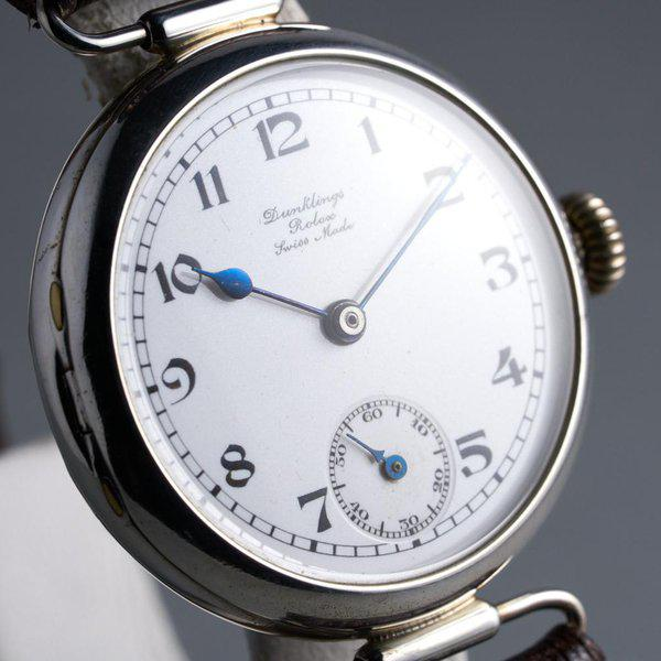 """FS: 1910's Rolex Silver Trench Watch with """"Dunklings"""" Double Name Porcelain Dial 5"""