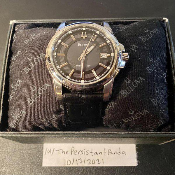 [WTS] Bulova Precisionist Stainless Steel (Model: 96B158) with Grey Dial, Black Leather Strap, Original box 1