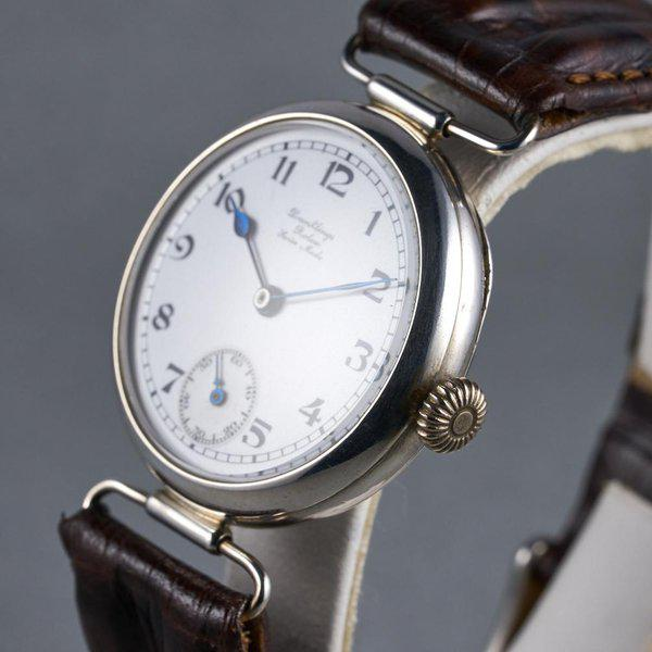 """FS: 1910's Rolex Silver Trench Watch with """"Dunklings"""" Double Name Porcelain Dial 7"""
